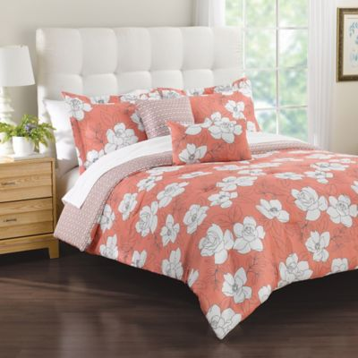 Margaux 5-Piece Full/Queen Comforter Set in Coral