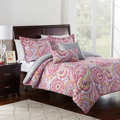 Christine 5-Piece Full/Queen Comforter Set in Red