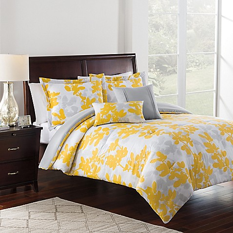 shadow leaf 4 5 piece comforter set in light grey bed bath beyond. Black Bedroom Furniture Sets. Home Design Ideas