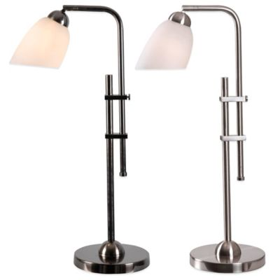 Kenroy Home Extender Desk Lamp in Brushed Steel with Glass Shade