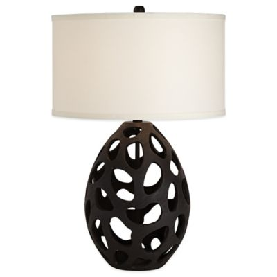 Pacific Coast® Lighting Luna Table Lamp in Black with Linen Shade
