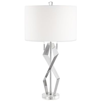 Pacific Coast® Lighting Quadrant Table Lamp in Chrome with Linen Shade