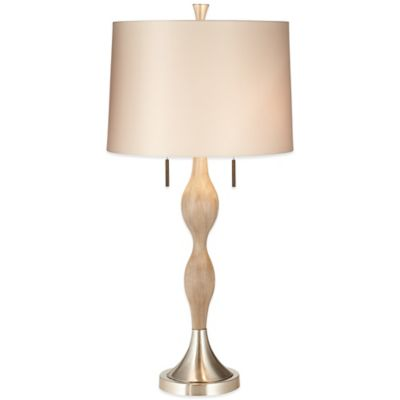 Pacific Coast® Lighting Audrey Table Lamp in Brushed Nickel with Satin Shade