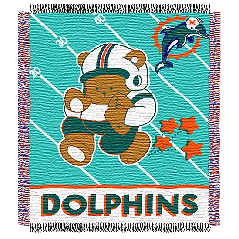 NFL Miami Dolphins Woven Jacquard Baby Blanket/Throw