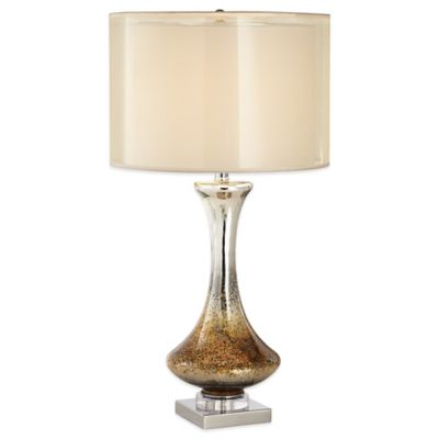 Pacific Coast® Lighting Amber Table Lamp in White with Linen/Organza Shade