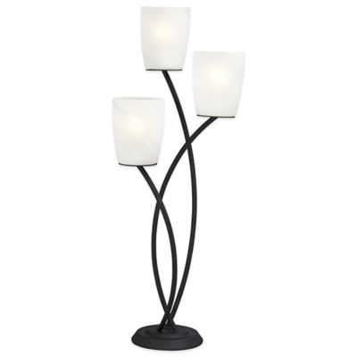 Pacific Coast® Lighting Metro Crossing Table Lamp in Black with Frosted Glass Shades