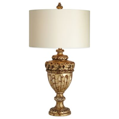 Pacific Coast® Lighting Constantine Table Lamp in Gold with Faux Silk Shade