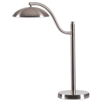 Kenroy Home Crescent LED Table Lamp in Brushed Steel with Metal Shade