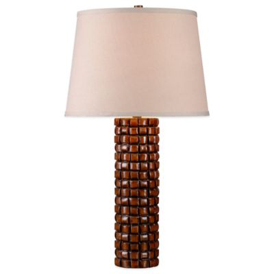 Kenroy Home Interlace Table Lamp in Rattan Finish with Drum Shade