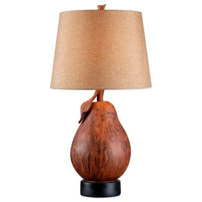 Kenroy Home Le Poire Table Lamp in Wood Finish with Tan Shade