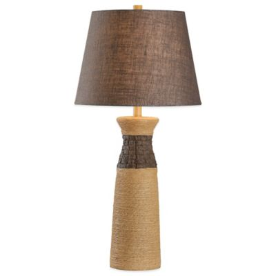 Kenroy Home Sisal Table Lamp in Tan with Burlap Shade