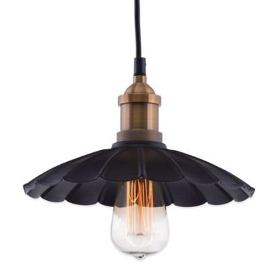 Zuo® Pure Hamilton Ceiling Lamp in Antique Black/Copper with Metal Shade