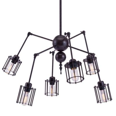 Zuo® Pure Levin 6-Light Ceiling Lamp in Distressed Black