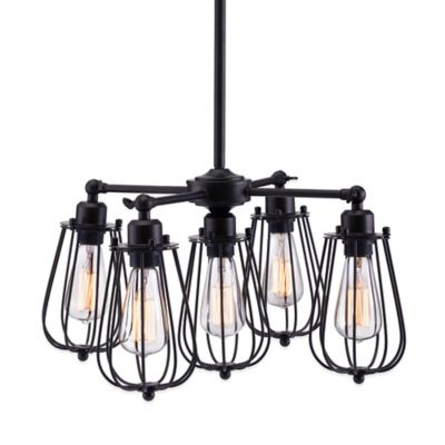 Zuo® Pure Porirua 5-Light Ceiling Lamp in Distressed Black