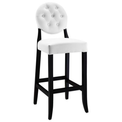 Modway Faux Leather Buttoned Bar Stool in Black