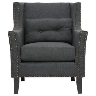 Baxton Studio Albany Linen Modern Lounge Chair in Dark Grey