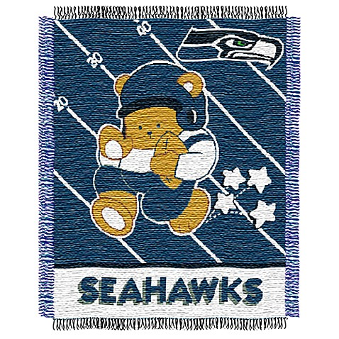 Nfl Seattle Seahawks Woven Jacquard Baby Blanket Throw