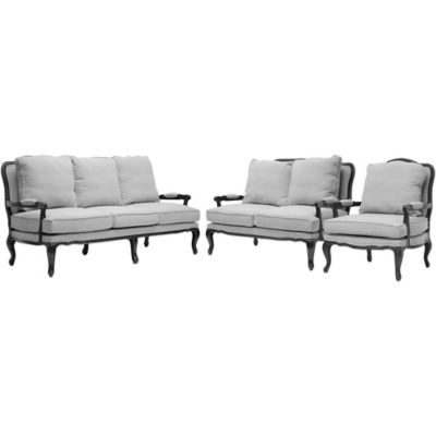 Baxton Studio Antoinette Classic Antiqued 3-Piece French Sofa Set in Grey/Beige