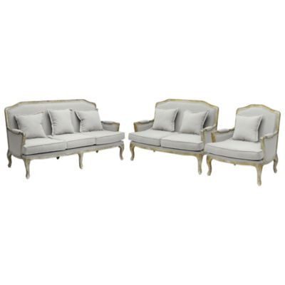 Baxton Studio Constanza Classic Antiqued 3-Piece French Sofa Set