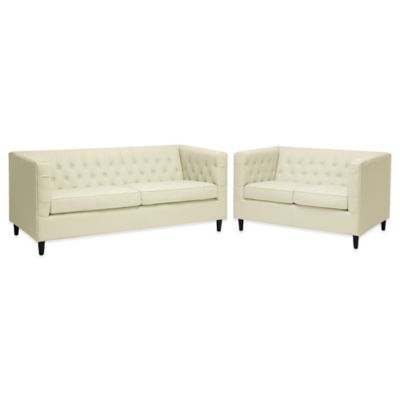 Baxton Studio Darrow Modern Leather Sofa and Loveseat in Cream