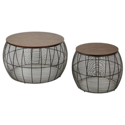 Camden Metal 2-Piece Accent Table Set with Espresso Wood Top