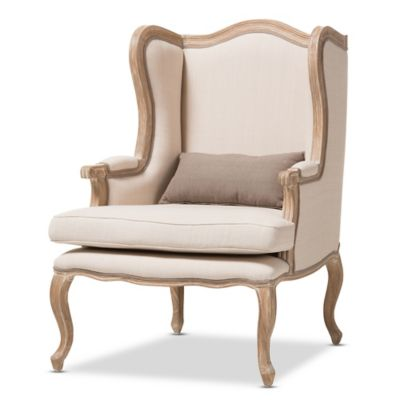 Auvergne Wood Traditional French Accent Chair in Beige