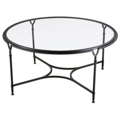 Uttermost Samson Round Glass Coffee Table in Black