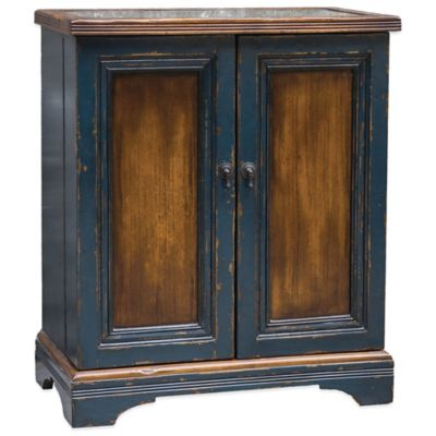 Uttermost Agacio Wooden Bar Cabinet in Honey/Navy