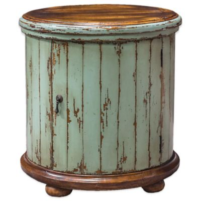 Uttermost Axelle Wooden Drum Accent Table