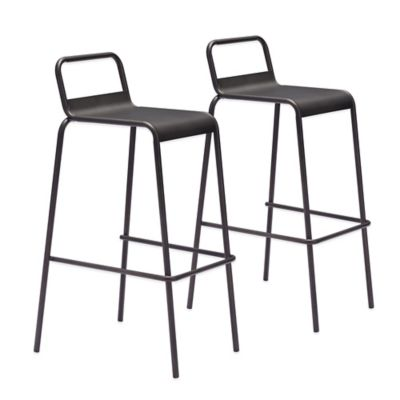 Zuo® Saccas Barstool in Antique Black (Set of 2)