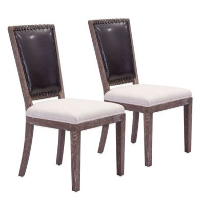 Zuo® Market Dining Chairs in Brown and Beige (Set of 2)