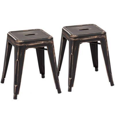 Zuo® Marius Stool in Antique Black/Gold (Set of 2)