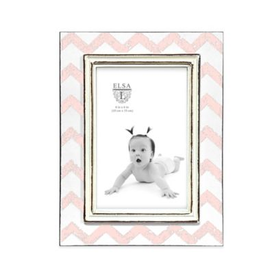 Elsa L Baby Classics 4-Inch x 6-Inch Chevron Picture Frame in Pink/White
