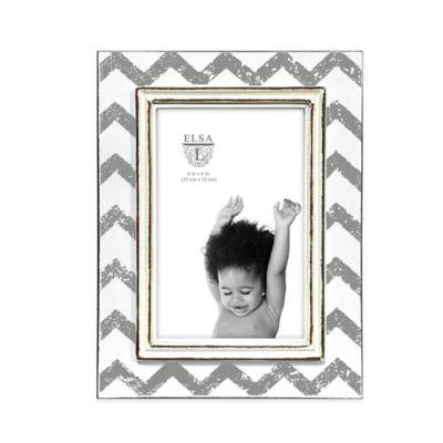 Elsa L Baby Classics 4-Inch x 6-Inch Chevron Picture Frame in Grey/White