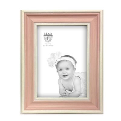 Elsa L Baby Classics 5-Inch x 7-Inch 2-Tone Picture Frame in Pink/White