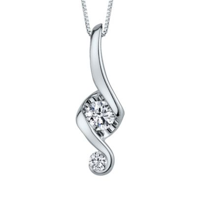 Juno Lucina 14K White Gold .10 cttw Diamond 18-Inch Chain Love and Protection Pendant Necklace