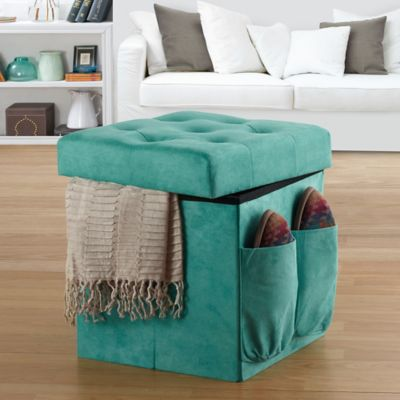 Anthology™ Folding Storage Ottoman in Tufted Aqua