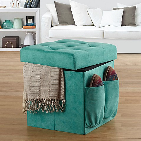 Anthology Sit Amp Store Folding Ottoman In Tufted Aqua