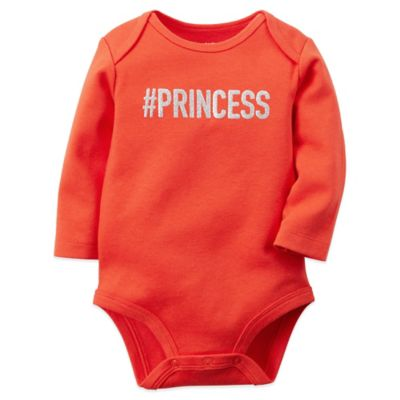 "Carter's® Size 3M ""#Princess"" Long Sleeve Bodysuit in Ruby Red"