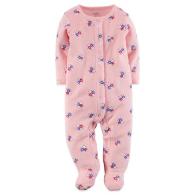 Carter's® Size 3M Snap-Front Terry Flower Footie in Pink/Blue