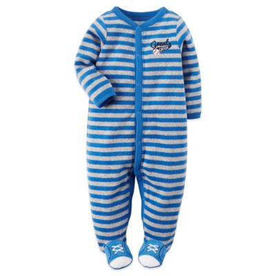 "Carter's® Size 6M Snap-Front ""Great Catch"" Terry Baseball Footie in Blue/Grey"