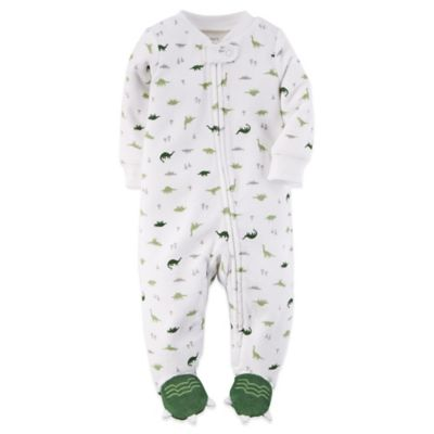 Carter's® Newborn Zip-Front Terry Dinosaur Footie in White/Green