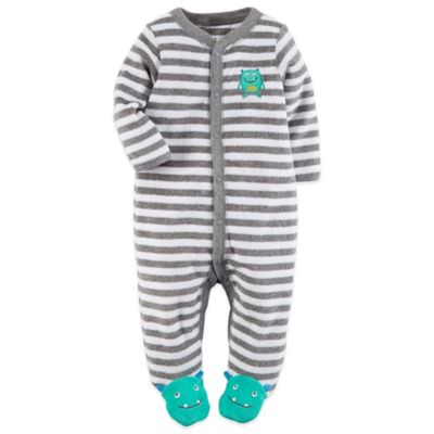 Carter's® Newborn Snap-Front Terry Monster Footie in Grey/Green