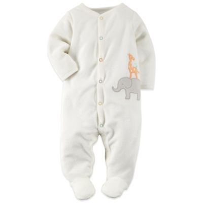Carter's® Size 3M Jungle Terry Footie in Ivory/Multicolor