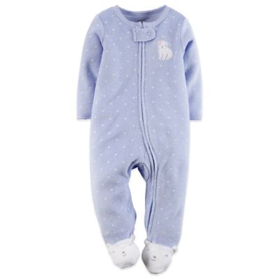 Carter's® Newborn Zip-Front Terry Bear Footie in Blue/White