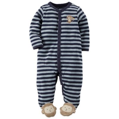 Carter's® Size 3M Monkey Sleep n' Play Footie in Blue Stripe