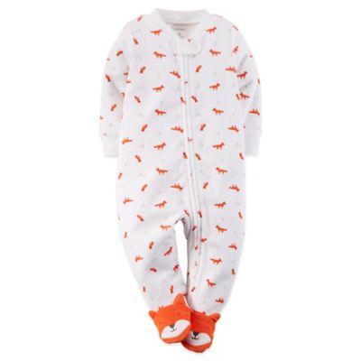 Carter's® Size 6M Zip-Front Terry Fox Footie in Orange/White