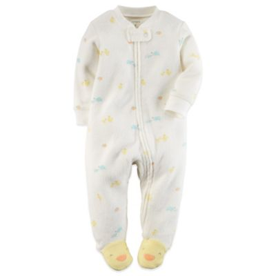 Carter's® Size 3M Zip-Front Terry Duck/Turtle Footie in Ivory/Multicolor