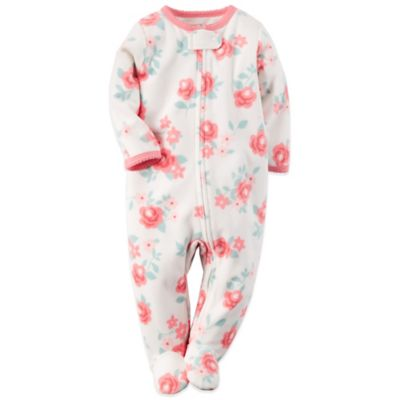 Carter's® Size 3M Floral Sleep n' Play Footie in White/Pink