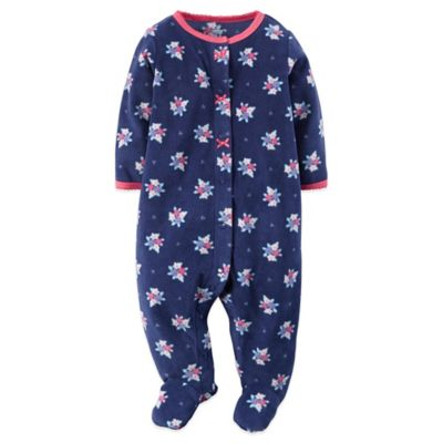 Carter's® Size 3M Floral Sleep n' Play Footie in Navy/Pink